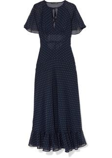 Alexa Chung Cape-effect Ruffled Polka-dot Crepe Dress