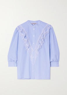 Alexa Chung Cecily Lace-trimmed Striped Cotton-poplin Blouse
