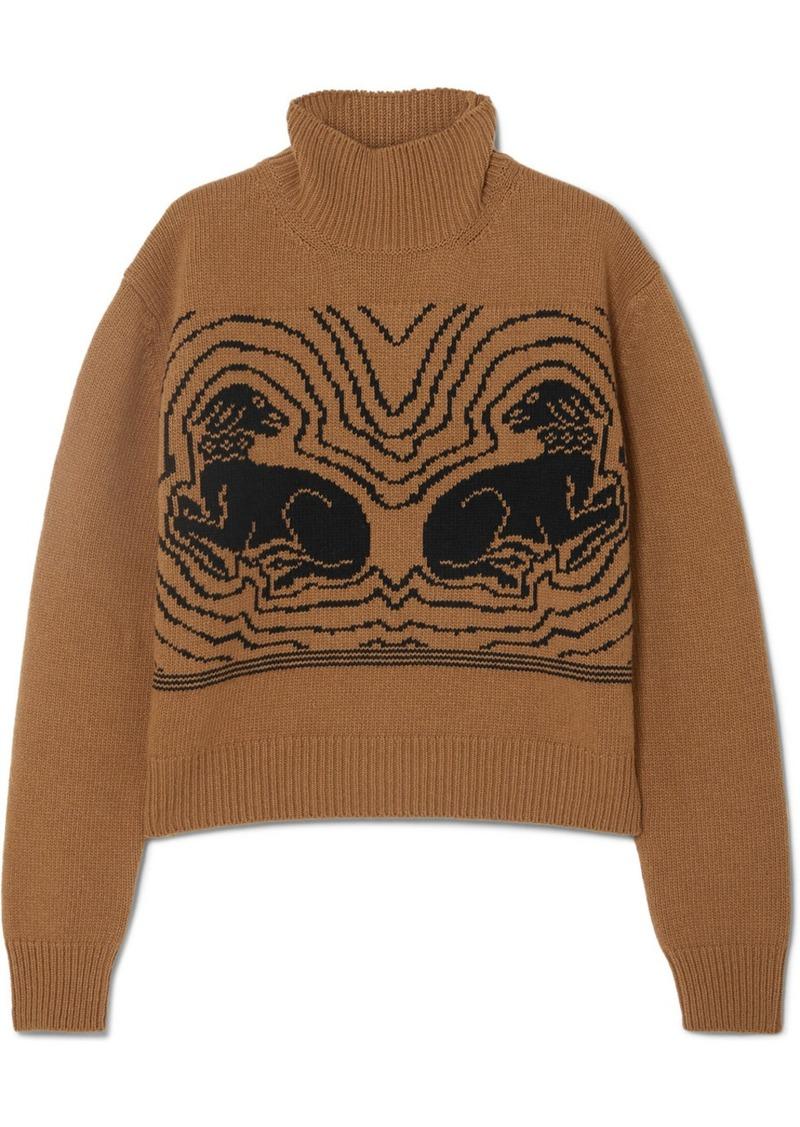 Alexa Chung Cropped Intarsia Wool Turtleneck Sweater