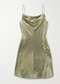 Alexa Chung Draped Metallic Checked Silk-blend Mini Dress