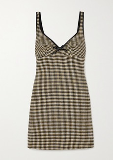 Alexa Chung Edwige Faux Patent Leather-trimmed Houndstooth Tweed Mini Dress
