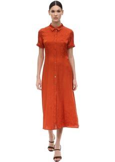 Alexa Chung Floral Jacquard Silk Satin Shirt Dress