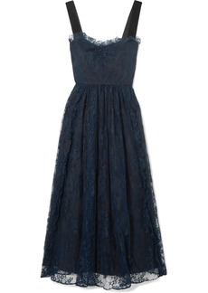 Alexa Chung Gathered Velvet-trimmed Chantilly Lace Midi Dress