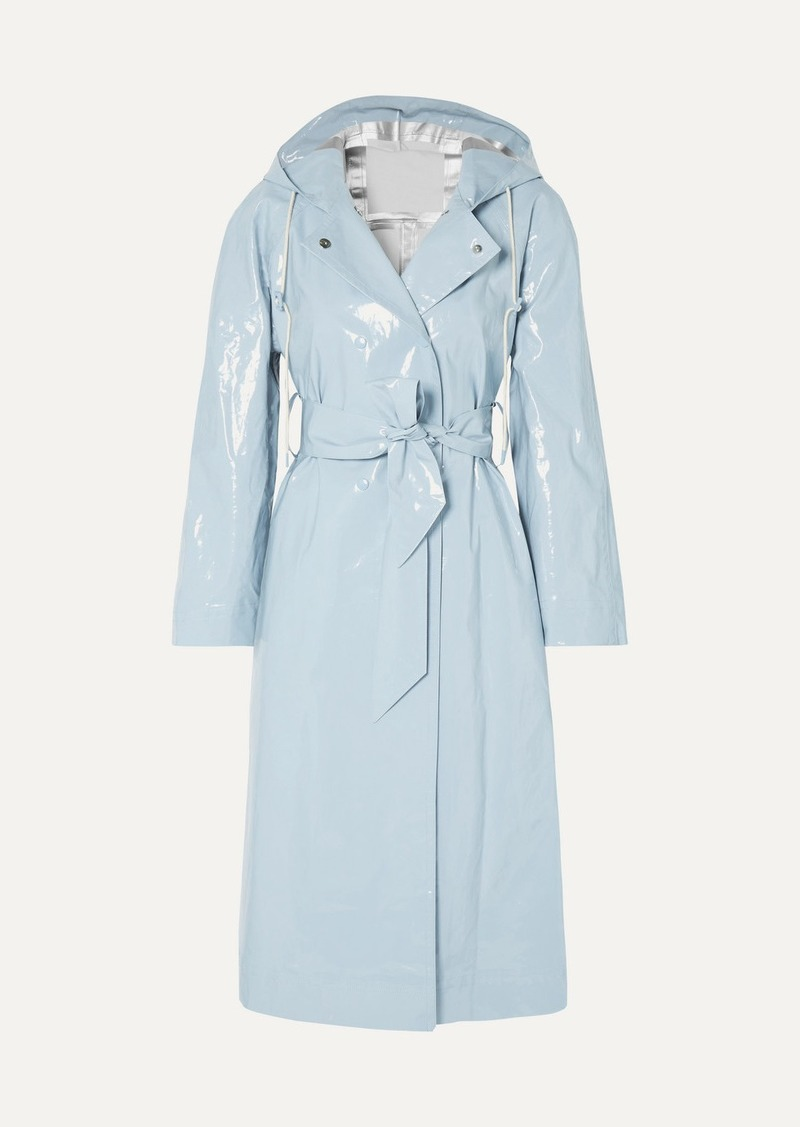 Alexa Chung Hooded Belted Coated Cotton-blend Raincoat