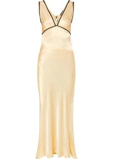Alexa Chung Lace-trimmed Satin-crepe Maxi Dress