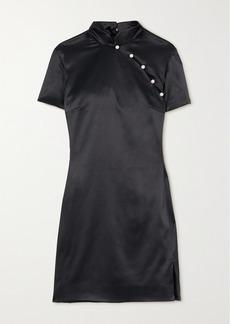 Alexa Chung Mandarin Faux Pearl-embellished Satin Mini Dress