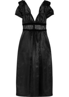 Alexa Chung Mesh and velvet-trimmed satin midi dress