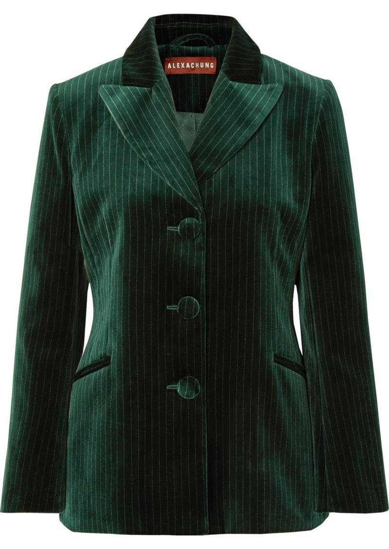 Alexa Chung Metallic Pinstriped Cotton-velvet Blazer