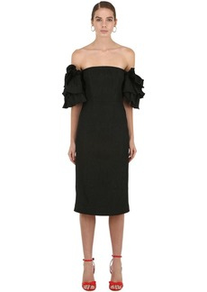 Alexa Chung Off The Shoulder Midi Dress W/ Ruffles