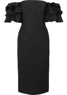 Alexa Chung Off-the Shoulder Ruffled Cloqué Dress