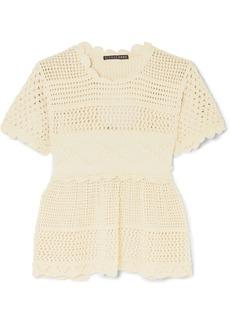 Alexa Chung Open-back Scalloped Crochet-knit Cotton-blend Top