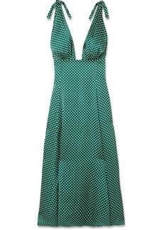 Alexa Chung Polka-dot Crepe De Chine Midi Dress