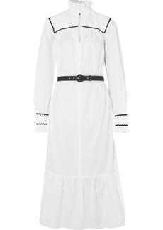 Alexa Chung Ruffle-trimmed Cotton-seersucker Midi Dress