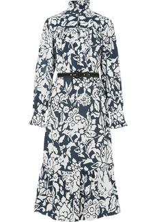 Alexa Chung Ruffle-trimmed Printed Cotton-poplin Midi Dress