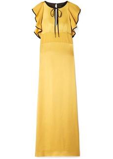 Alexa Chung Ruffled Hammered-satin Maxi Dress