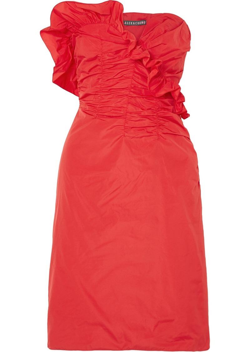 Alexa Chung Ruffled Ruched Taffeta Dress