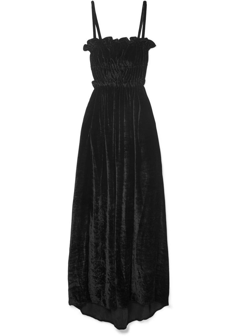 Alexa Chung Ruffled Shirred Crushed-velvet Maxi Dress