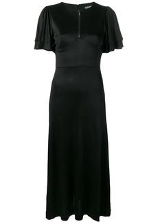 Alexa Chung satin midi dress with pleated sleeves