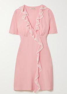 Alexa Chung Sherily Ruffled Lace-trimmed Crepe Mini Dress
