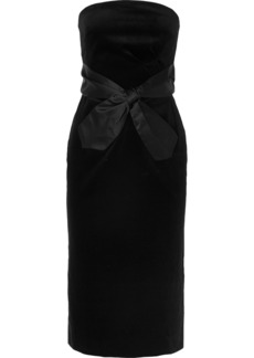 Alexa Chung Strapless Bow-embellished Cotton-velvet Midi Dress