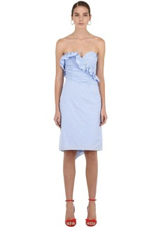 Alexa Chung Strapless Ruched Cotton Mini Dress