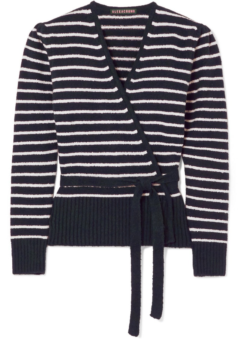 Alexa Chung Striped Brushed Cotton-blend Cardigan