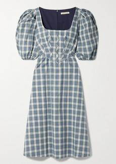 Alexa Chung Torrance Checked Cotton And Linen-blend Midi Dress