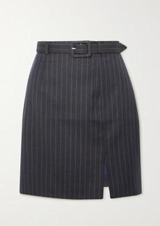 Alexa Chung Whatever Belted Pinstriped Wool-blend Mini Skirt