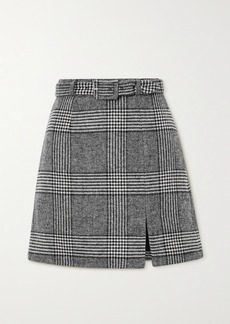 Alexa Chung Whatever Belted Prince Of Wales Checked Tweed Mini Skirt
