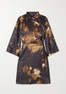 Alexa Chung Who By Fire Printed Satin Mini Wrap Dress