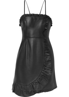 Alexa Chung Wrap-effect Ruffled Leather Mini Dress