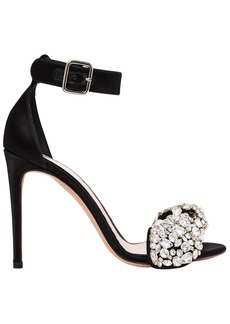 Alexander McQueen 105mm Crystal Bow Satin Sandals