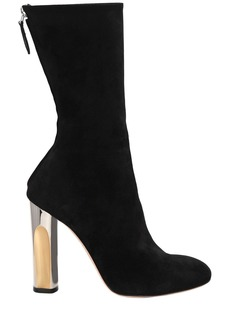 Alexander McQueen 105mm Suede Boots With Metallic Heel