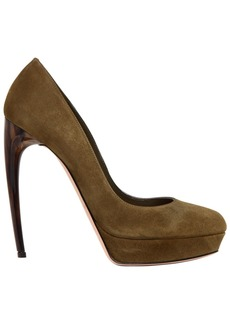 Alexander McQueen 125mm Suede Pumps W/ Hand-painted Heel