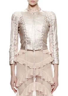 Alexander McQueen 3/4-Sleeve Metallic-Leather Jacket  Rose/Silver