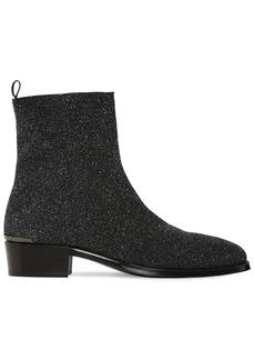Alexander McQueen 40mm Glittered Leather Cuban Boots