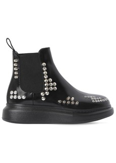 Alexander McQueen 40mm Hybrid Studded Leather Ankle Boots