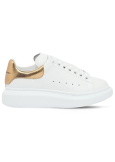 Alexander McQueen 40mm Leather & Metallic Leather Sneakers