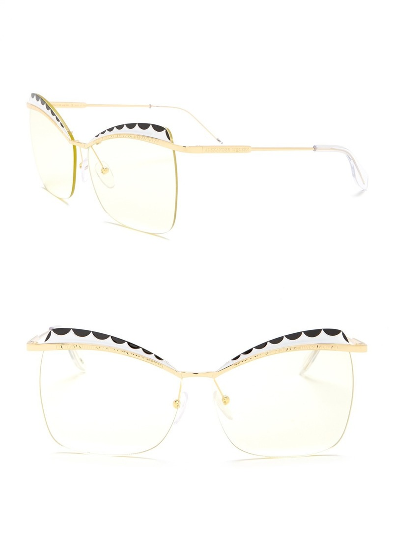 Alexander McQueen 60mm Metal Acetate Frame Cat Eye Sunglasses