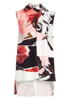 Alexander McQueen Torn Rose Gathered Silk Top