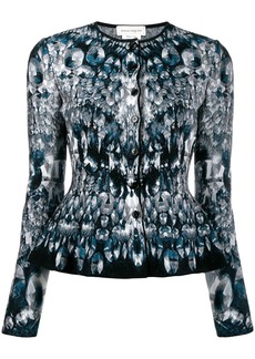 Alexander McQueen abstract pattern knitted peplum cardigan