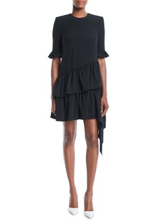 Alexander McQueen 3/4-Sleeve Asymmetric Drape Mini Dress