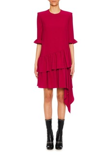 Alexander McQueen 3/4-Sleeve Asymmetric Drape Mini Dress