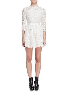 Alexander McQueen 3/4-Sleeve Floral-Lace Dress