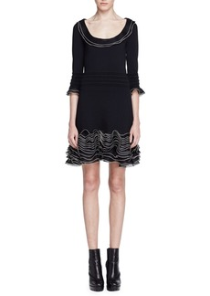 Alexander McQueen 3/4-Sleeve Knit Ruffle-Hem Dress