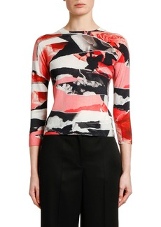 Alexander McQueen 3/4-Sleeve Torn Rose Print Sweater