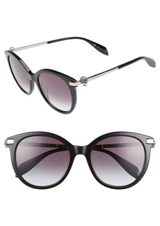 Alexander McQueen 53mm Rounded Cat Eye Sunglasses