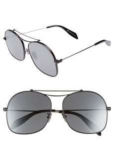Alexander McQueen 59mm Aviator Sunglasses