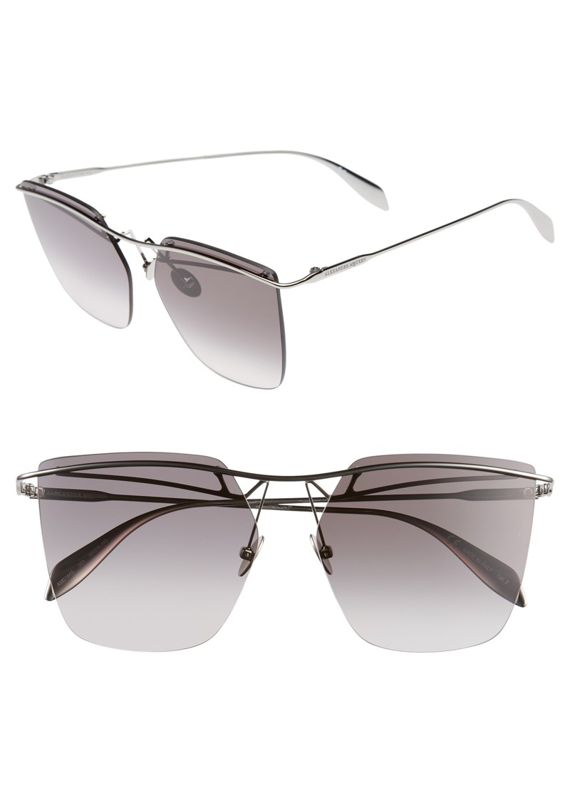 Alexander McQueen 59mm Gradient Lens Rimless Sunglasses