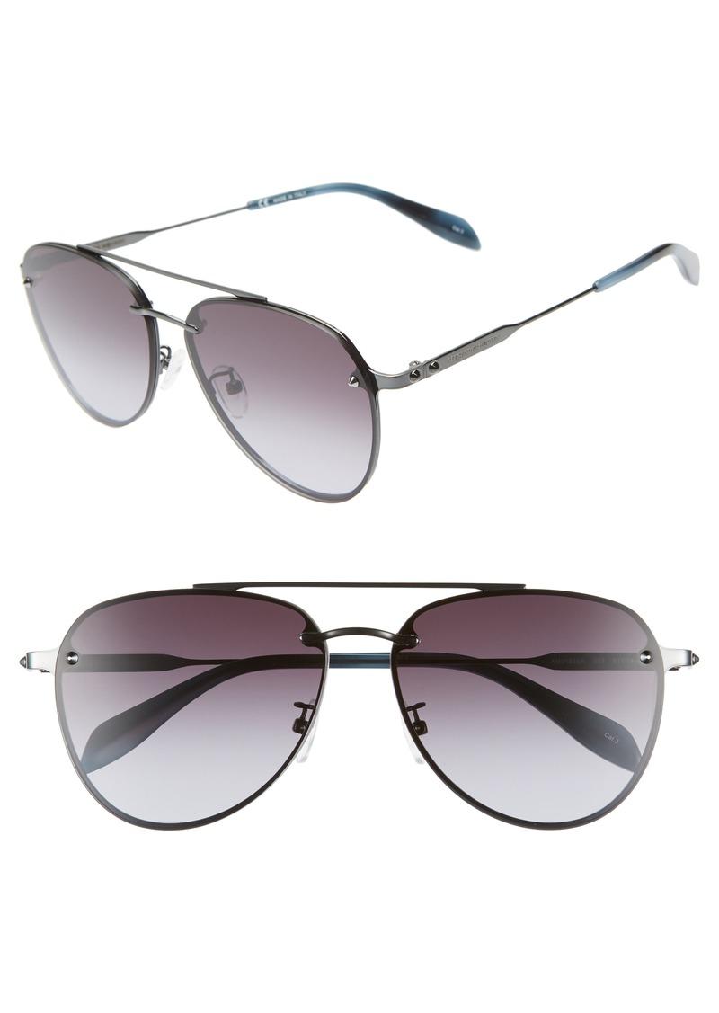 Alexander McQueen 61mm Gradient Aviator Sunglasses